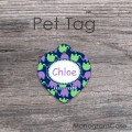 Mint lavender navy blue cute elephants pattern dog tag