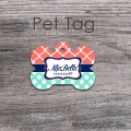 Mint polkadots coral navy blue design bone pet tag