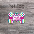 Motley pet tag polka dots stripes bone shaped design