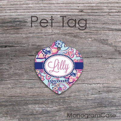 Multicolored fuchsia blue floral pattern pet tag