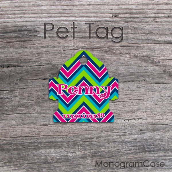 Multicolorful bold chevron bell shape pet tag