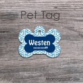Navy blue bone dog name pet ID tag