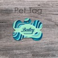 Pastel colors wavy pattern metal dog ID
