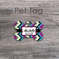 Pet tag multicolored modern chevron dog name