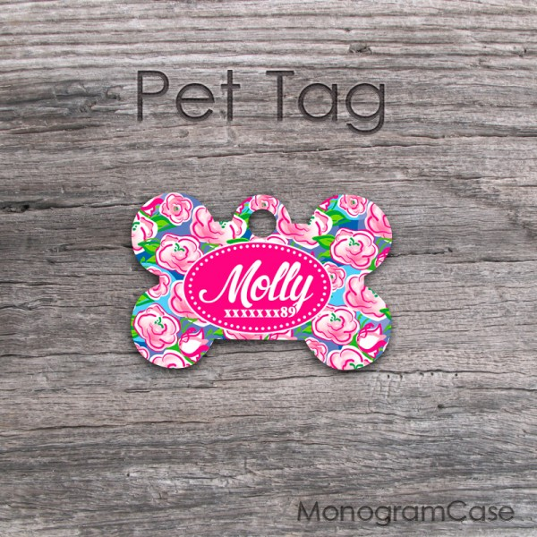 Pet tag pink roses colorful pattern cute design