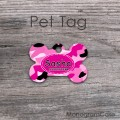 Pink camouflage pattern dog cat metal tag