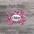 Pink paisley custom dog name tag