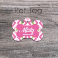 Pink ikat pattern custom dog name ID tag