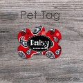 Red black paisley print bone ID tag