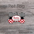 Red chevron black houndstooth design pet tag