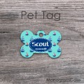 Sailboats aqua blue nautical pattern dog tag