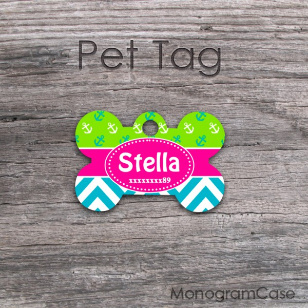 Turquoise chevron lime anchor pattern dog name tag