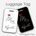SET of two wedding luggage tags on black and white Mr and Mrs gifts