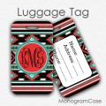 Aztec tribal personalized travel tag