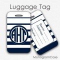 NAVY preppy striped personalized luggage tag