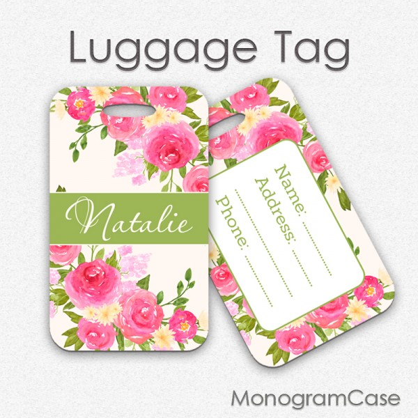 Pink roses watercolor wedding travel luggage tag