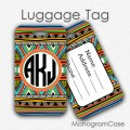 Aztec monogram luggage tag travel luggage label