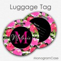 Monogrammed luggage tags watercolor peonies flowers wedding tag
