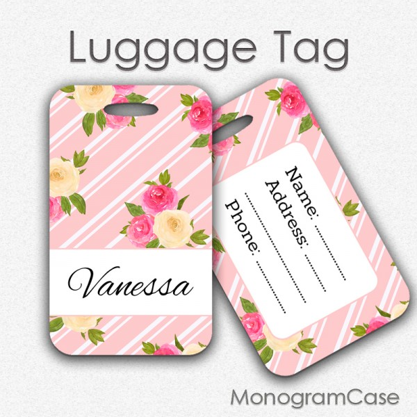 Pink watercolor flowers personalized luggage tag