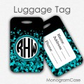 Teal glitter monogrammed travel luggage tag
