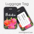 Watercolor floral custom name travel luggage tag
