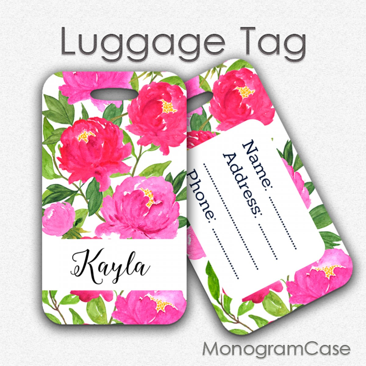 Watercolor hot pink flowers luggage tag monogramcase watercolor flowers luggage tag custom name mightylinksfo